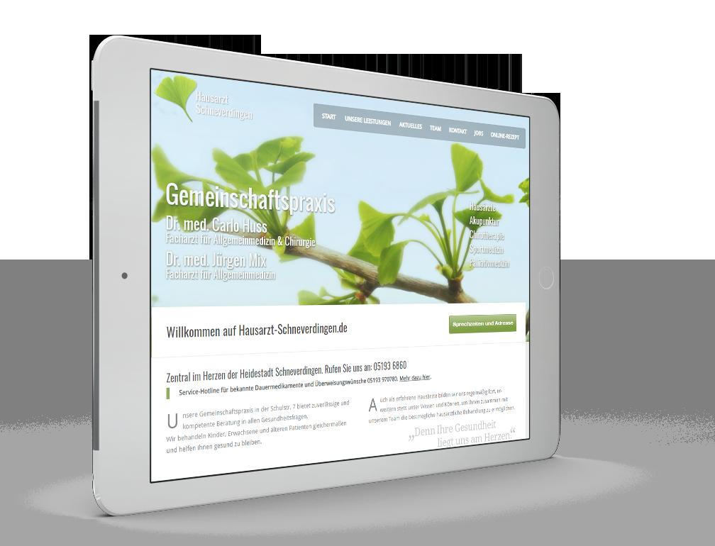 Modernes Webdesign und Fotografie für die Webseite für Arztpraxis
