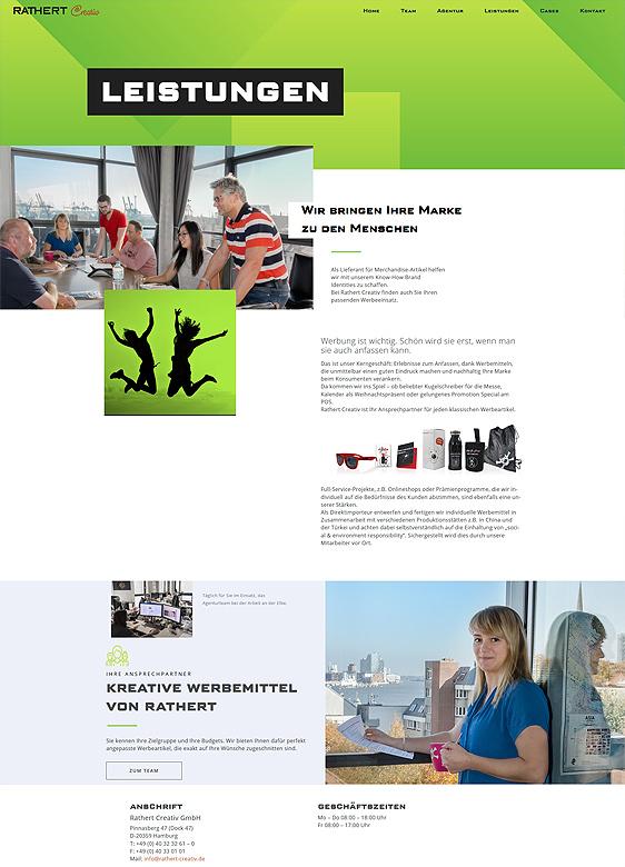 Webdesign von erica für Hamburger Agentur Rathert