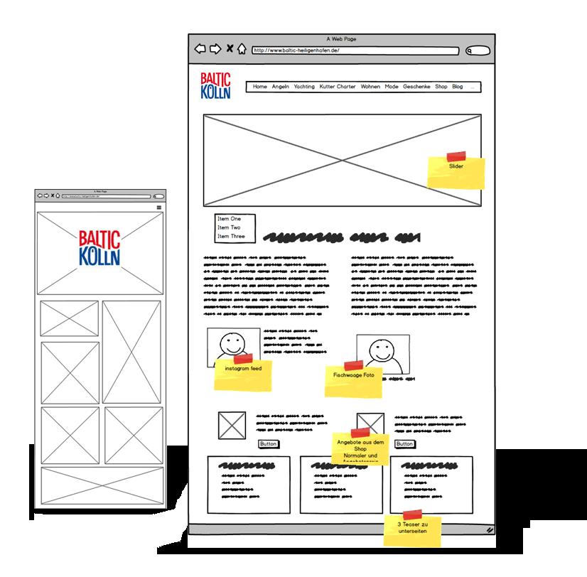 wireframing für Website für Unternehmen