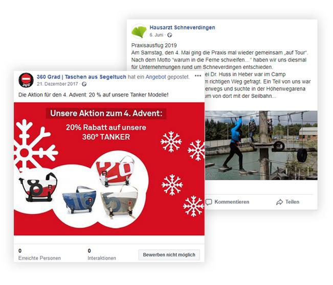 Facebook Postings von erica, Unternehmenskommunikation